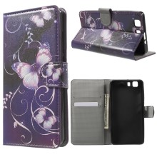 Leather Stand Cover with Card Slots for Doogee X5 - Purple Butterflies