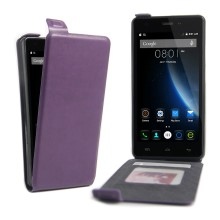 Vertical Open Leather Card Holder Shell for DOOGEE X5 / X5 Pro - Purple
