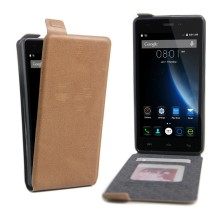 Card Slot Leather Vertical Flip Case for DOOGEE X5 / X5 Pro - Brown