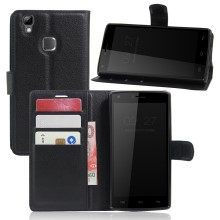 Lychee Skin Wallet Leather Stand Case for Doogee X5 Max - Black