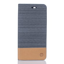 Bi-color Linen Leather Stand Case for Doogee X5 / X5 Pro - Dark Grey