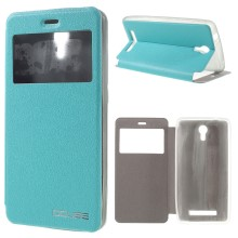 OCUBE Window View Leather Stand Case Shell for JIAYU S3 - Blue