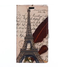 Twill and Eiffel Tower Wallet Leather Stand Cover for Huawei Ascend P8 Lite