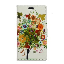 Two Card Slots Wallet Leather Cover for Huawei Ascend P8 Lite - Illustrative Autumn Tree