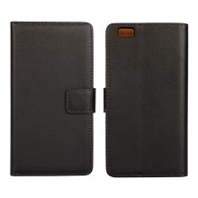 Genuine Split Leather Wallet Case for Huawei Ascend P8 Lite - Black