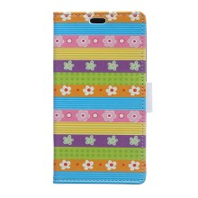 Magnetic Leather Stand Case for Huawei Ascend P8 Lite - Colored Stripes Flowers
