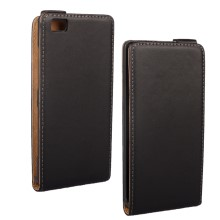 Vertical Flip Genuine Split Leather Case for Huawei Ascend P8 Lite - Black