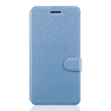 Silk Grain Stand Leather Phone Cover for Lenovo Sisley S90 with Card Slots - Baby Blue