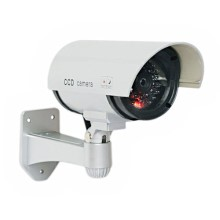 Silver Realistic Dummy IR Camera with Red Flashing Light Indoor Outdoor Security