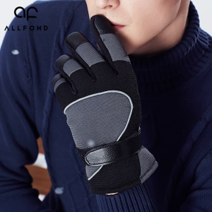 Full Finger Gloves Anti-Slip Warm Thick Wool for Motorcycle Outdoor Driving Sports - Grey