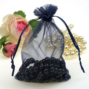 100Pcs/Lot Draw String Organza Jewelry Rose Favor Pouches Wedding Party Festival Gift Candy Bags - Black