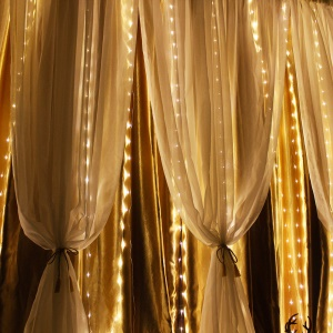 Waterproof 3M 8 Modes Warm White 300-LED Curtain String Fairy Light