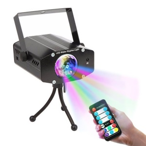 LED Remote Control Water Ripple Light Sound Activated Color Rotating for Party Karaoke - US Plug