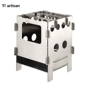 WS013 Mini & Portable Stainless Steel Folding Wood Stove for Outdoor Cooking Camping