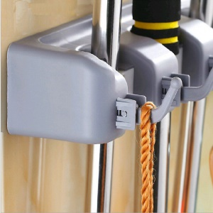 Wall Mounted Mop Broom Holder Storage with 4 Positions and 5 Hooks