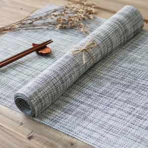 4PCS/Lot Linen Texture Non-slip PVC Dining Room Placemats for Dining Table, Size: 45 x 30cm - Style F
