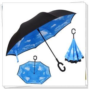 Umgekehrter Umbrella Double Layer Winddichter Reverse Umbrella mit C-förmigen Griff für Auto und Outdoor Use - Blue Sky