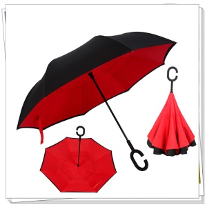 Double Layer Windproof Reverse Umbrella C-shaped Handle Inverted Umbrella for Car and Outdoor Use - Red