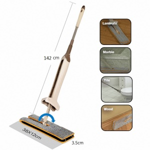 Double Sided Microfiber Flat Mop, Easy Self Wringing Wet and Dry Clean Handheld Mop Cleaning Tools