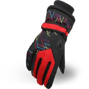 Winter Hot Ski Gloves Outdoor Sports Comfortable Windproof Ski Gloves for Kids - Red