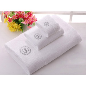 3Pcs/Set Thickened Cotton Absorbent Luxury Hotel Wachcloth - Silver S Flower