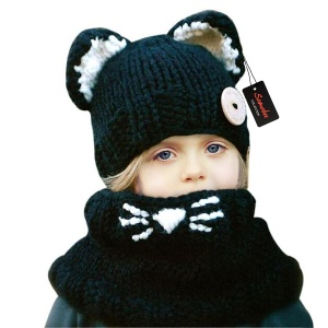 Winter Kids Warm Fox Animal Hats Chapéu de malha Coif Hood Scarf Beanies - negro