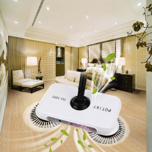 Hand Push Spin Sweeper Automatic Broom Household Dust Collect Floor Cleaning Mop - White