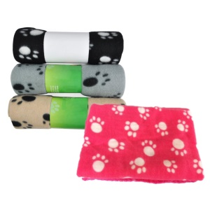 4Pcs/Set Pawprint Soft Pet Dog Cat Bedding Blanket 100 x 70cm (Black + Grey + Pink + Blue)