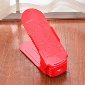Plastic Shoes Display Rack Organizer Space-Saving Double Layer Shoes Storage Rack - Red