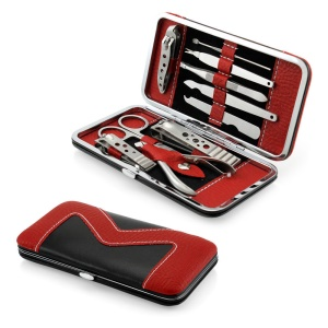 10Pcs / Set Pedicure / Manicure Set Nail Clippers Cleaner Kit de preparação de cutícula com estojo de transporte