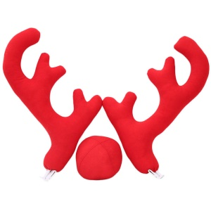 Reindeer Antlers Red Nose Christmas Car Vehicle Costume Decoration - Red
