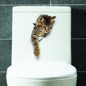 3D Cat Pattern Toilet Seat Sticker Wall Sticker Living Room Bedroom Removable Wall Decal - Style A
