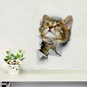 3D Cat Pattern Toilet Seat Sticker Living Room Bedroom Removable Wall Decal - Style B