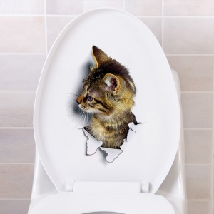 3D Cat Pattern Toilet Seat Sticker Removable Wall Sticker Living Room Bedroom Sticker - Style C