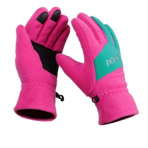 Winter Warm Skiing Touch Screen Mittens Outdoor Riding Sports Windproof Waterproof Nylon Ski Snowboard Gloves - M / Rose + Green