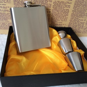 Delicate Engraved Pattern Hip Flask Stainless Steel 7oz Flasks for Liquor Gift Set with Bonus Funnel  Shot Glasses