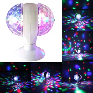 E27 Double Head Rotating LED Strobe Bulb Crystal Stage Disco Lights