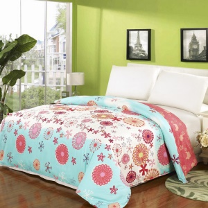 150 x 200cm 100% Cotton Printing Duvet Cover Bedding Bag - Cartoon Flowers