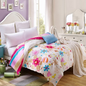 100% Cotton Twill Printed Comforter Cover Quilt Duvet Cover, Size: 180 x 200cm - Colorful Flowers