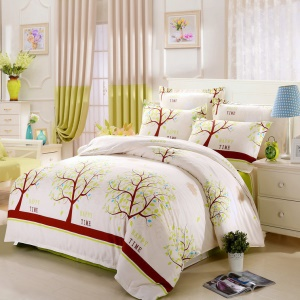 100% Cotton Bedding Comforter Cover Quilt Cover, Size: 180 x 220cm - Trees and Happy Time