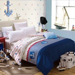 Pure Cotton Twill Printing Quilt Cover Bedding Bag 200 x 230cm - Anchor, Stripe and Dot