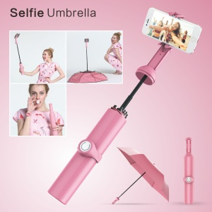 Windproof Anti-UV Tri-fold Umbrella and Selfie Monopod with Bluetooth Remote Shutter - Pink