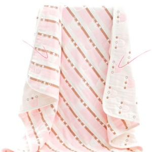Soft Cotton Toddlers Baby Receiving Swaddle Blanket, 110 x 110cm - Pink
