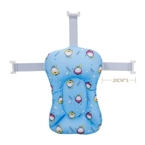 Cartoon Baby Bathing Mat 3 Fixed Belts Anti-slip Bath Cushion Bathtub Shower Bed for Toddlers Infant - Baby Blue