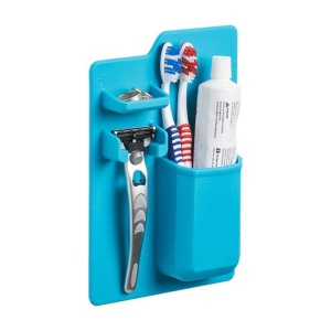 Wall Mounted Silicone Holder Organizer for Toothpaste Toothbrush Razor - Blue
