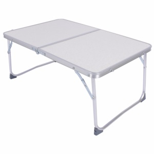 Folding Laptop Table Breakfast Serving Bed Desk Portable Aluminum Alloy Outdoor Picnic Table - White