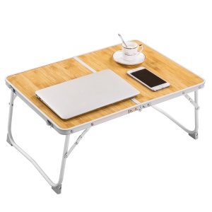 Foldable Laptop Table Lightweight Aluminum Alloy Bed Desk Portable Outdoor Picnic Table - Brown Wood