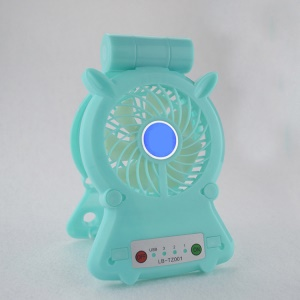 Mini USB Rechargeable Desktop Cooling Fan Charging Power Bank with Phone Holder - Cyan