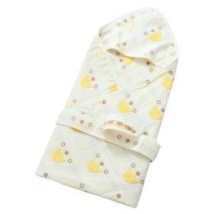 Organic Cotton Soft Baby Bath Hooded Towel Multi-Layer Swaddle for Infants and Toddlers - Crown