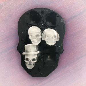 3D Silicone Skull Mold 6 Ice Cube Mould Creative Candy Sugar Chocolate Mold Maker - Black